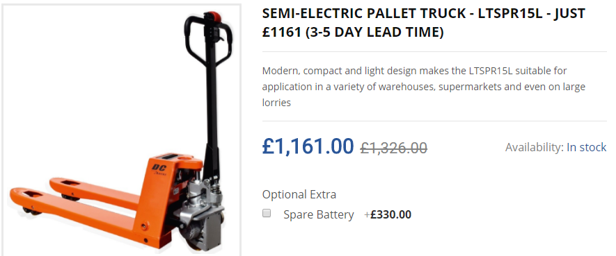 SEMI-ELECTRIC PALLET TRUCK - LTSPR15L - JUST £1161 (3-5 DAY LEAD TIME)