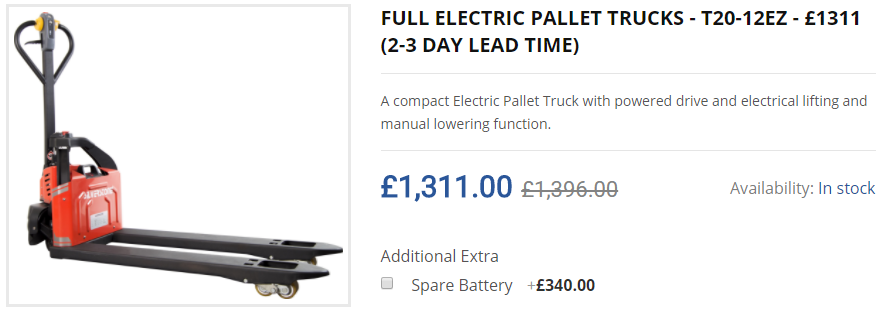 FULL ELECTRIC PALLET TRUCKS - T20-12EZ - £1311 (2-3 DAY LEAD TIME)